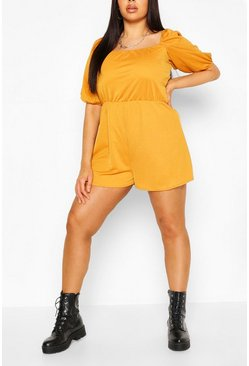 Mustard Plus Puff Sleeve Playsuit