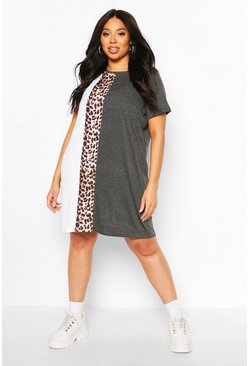 Charcoal Plus Leopard Stripe T-Shirt Dress