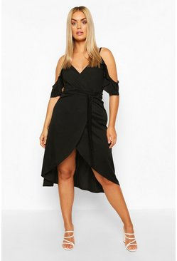 Black Plus Cold Shoulder Wrap Midaxi Dress