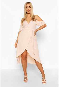 Blush Plus Cold Shoulder Wrap Midaxi Dress