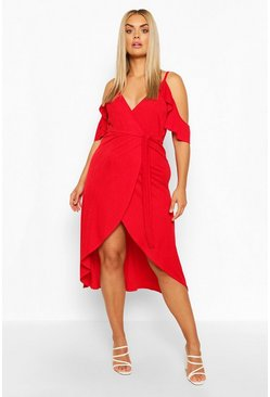 Red Plus Cold Shoulder Wrap Midaxi Dress