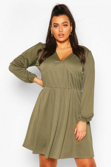 Khaki Plus Crepe Blouson Sleeve Skater Dress