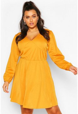 Mustard Plus Crepe Blouson Sleeve Skater Dress