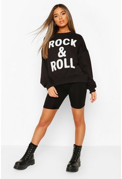 Black Petite Oversize 'Rock & Roll' Slogan Sweat