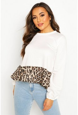 White Petite Leopard Print Peplum Detail Sweat