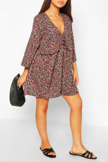 Black Petite Ditsy Floral Frill Smock Dress