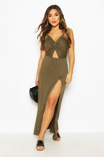 Khaki Petite Twist Front Jersey Maxi Dress