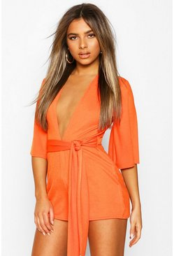 Orange Petite Plunge Tie Detail Playsuit