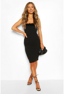 Black Petite Feather Trim Bandeau Midi Dress