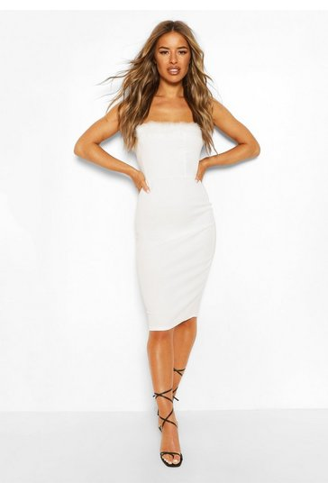 White Petite Feather Trim Bandeau Midi Dress