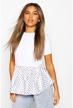White Petite Satin Polka Dot Peplum Detail T-Shirt