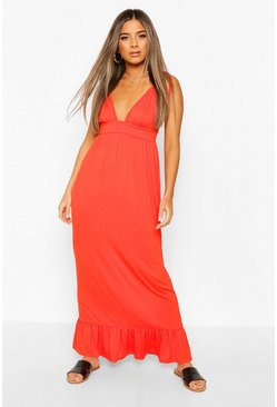 Orange Petite Tie Strap Jersey Maxi Dress