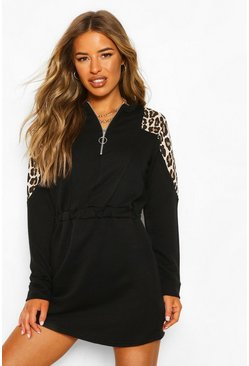 Black Petite Leopard Block Zip Front Sweat Dress