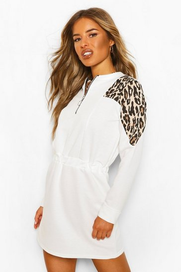 White Petite Leopard Block Zip Front Sweat Dress