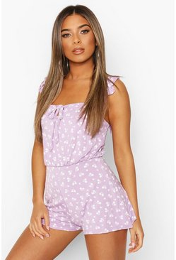 Lilac Petite Daisy Print Frill Sleeve Playsuit