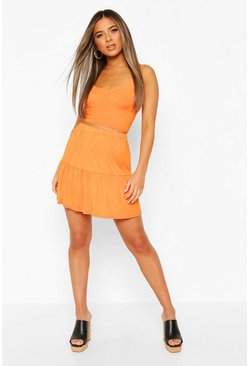 Orange Petite Tiered Mini Skater Skirt