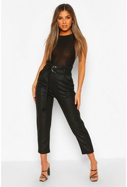 Black Petite PU Croc Print High Waist Trousers