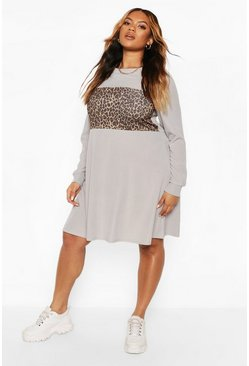 Grey Plus Rib Leopard Contrast Swing Dress