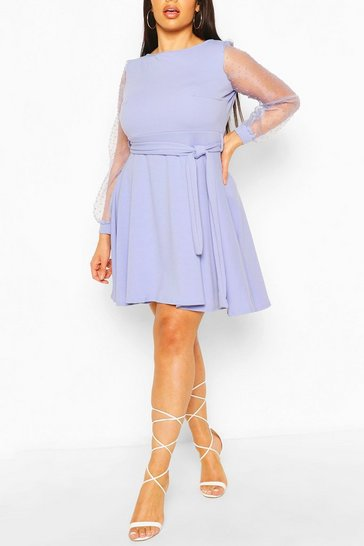 Sky Plus Dobby Organza Tie Belt Skater Dress