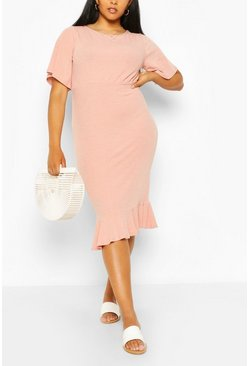 Blush Plus Soft Rib Ruffle Hem Midi Dress