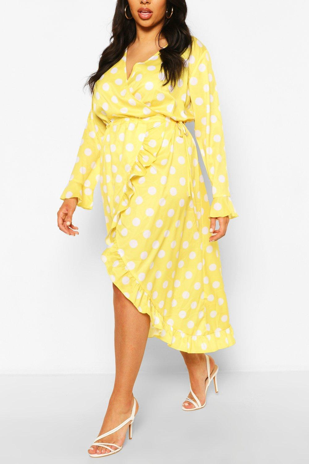 Plus Polka Dot Ruffle Wrap Midi Dress 6