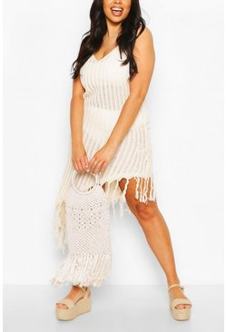 Ecru Plus Asymmetric Crochet Beach Dress