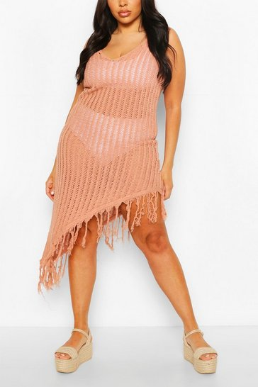 Paprika Plus Asymmetric Crochet Beach Dress