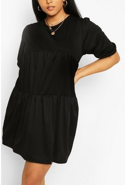 Black Plus Cheesecloth Tiered Smock Dress