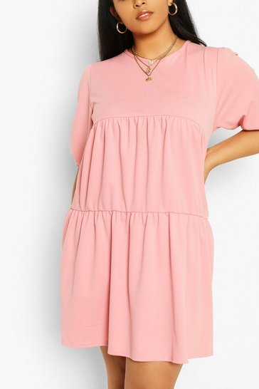 Blush Plus Cheesecloth Tiered Smock Dress