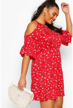 Red Plus Open Shoulder Ruffle Smock Dress