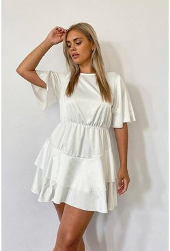 Ivory Plus Satin Ruffle Detail Skater Dress