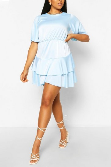 Sky Plus Satin Ruffle Detail Skater Dress