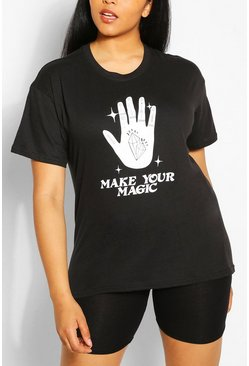 "Plus T-Shirt mit ""Make Your Magic""-Print, Schwarz"