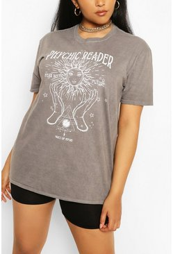 Plus T-Shirt im Acid-washed-Look mit Phychic-Motiv, Schwarz