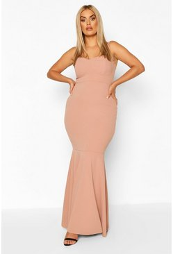 Blush Plus Bustier Detail Fishtail Maxi Dress