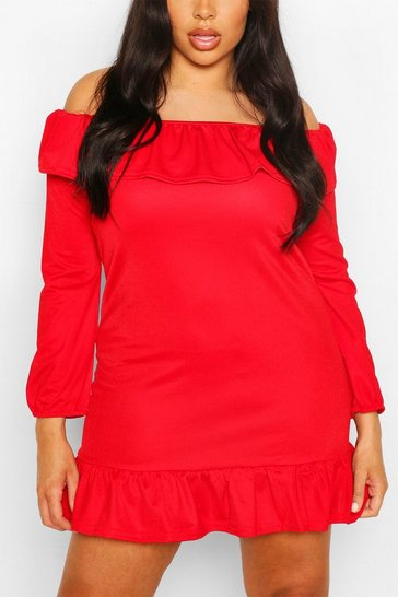 Red Plus Ruffle Off The Shoulder Sundress