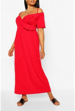 Red Plus Ruffle Open Shoulder Jersey Maxi Dress
