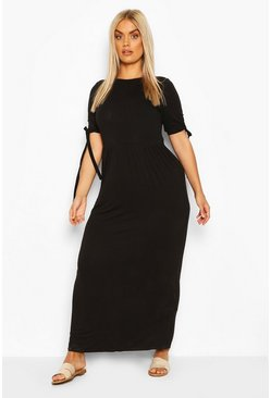 Black Plus Tie Sleeve Jersey Maxi Dress