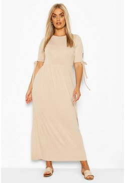 Stone Plus Tie Sleeve Jersey Maxi Dress