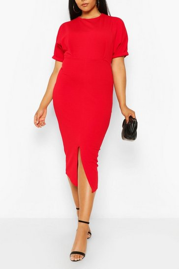 Red Plus Wiggle Midaxi Dress