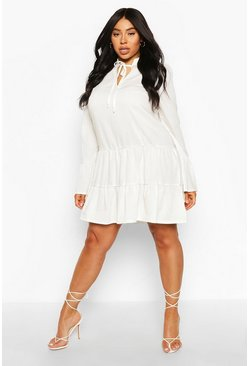 Cream Plus Linen Tiered Ruffle Smock Dress