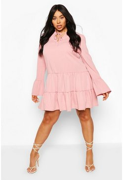 Pink Plus Linen Tiered Ruffle Smock Dress