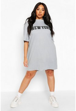 Grey Plus New York Slogan Oversized T-Shirt Dress