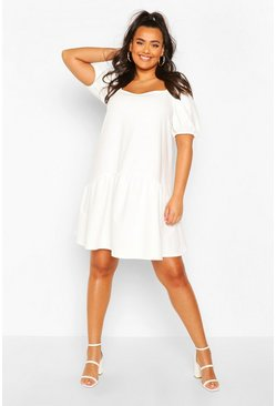 Ivory Plus Puff Sleeve Smock Dress