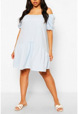 Sky Plus Puff Sleeve Smock Dress