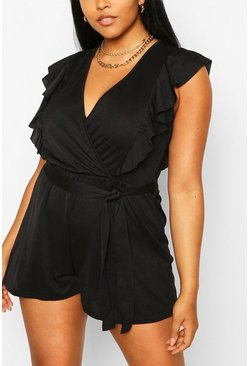 Black Plus Ruffle Sleeve Wrap Playsuit