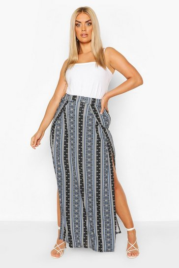 Black Plus Boho Stripe Split Maxi Skirt