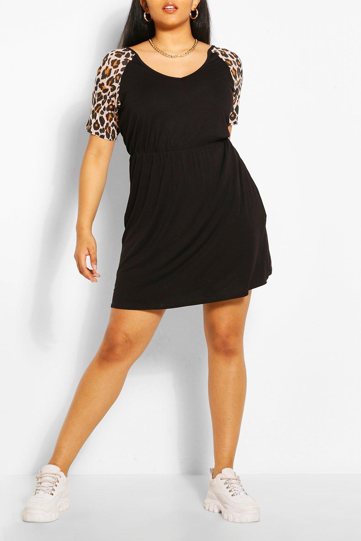 Plus Leopard Contrast Smock Dress 6