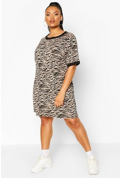 Plus Tiger Ringer T-shirt Dress, Stone