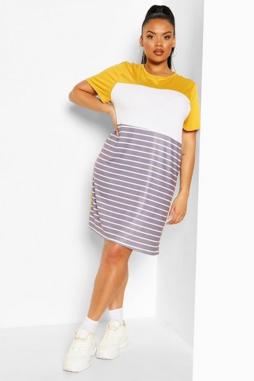 Mustard Plus Colour Block T-shirt Dress